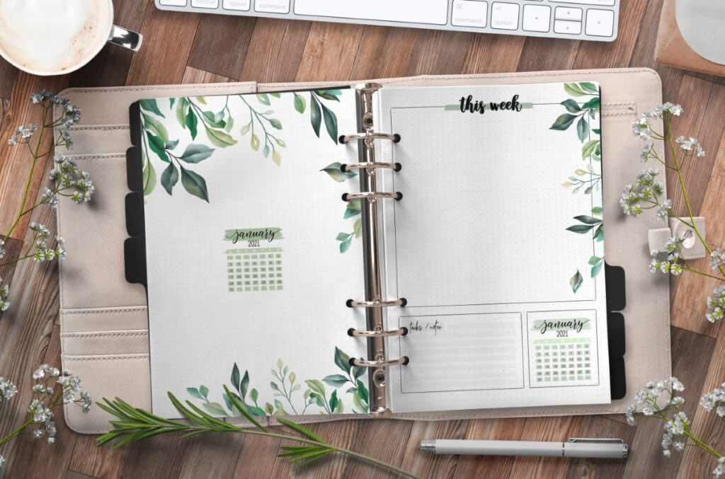 Month At A Glance Floral Planner Page Insert Free Printable