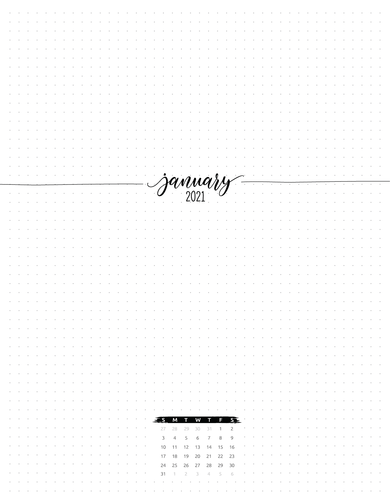 Month At A Glance Planner Insert