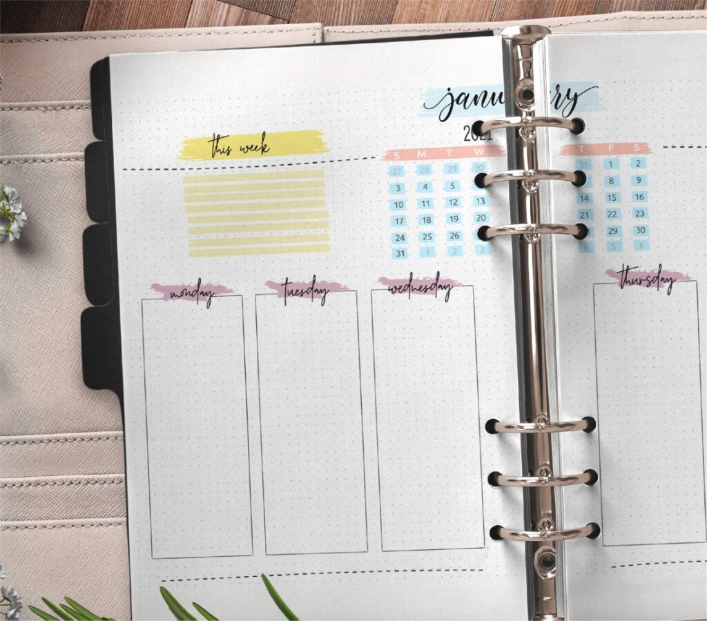 Monthly Bullet Journal Layout Pages Free Printable 1