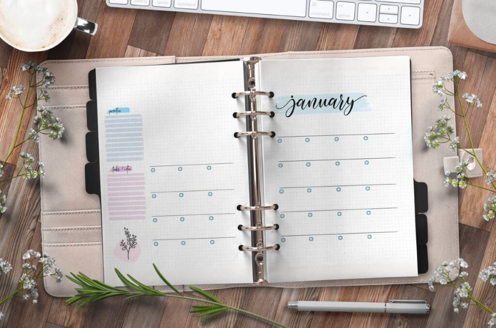 Monthly Planner On Two Pages Free Printable