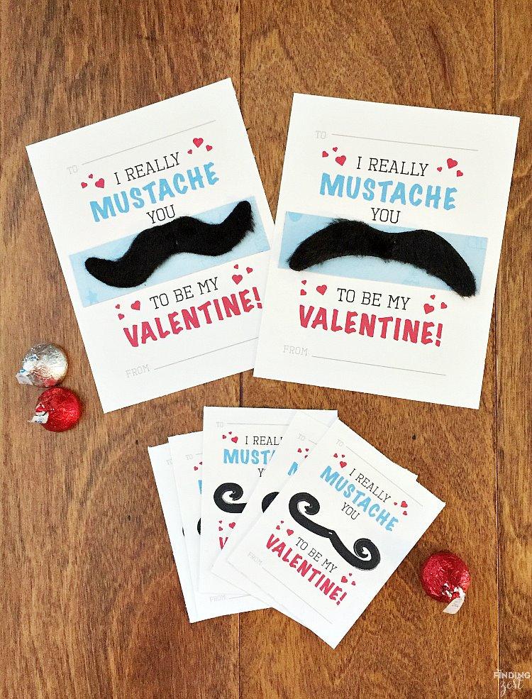 Mustache Valentine Cards Free Printable