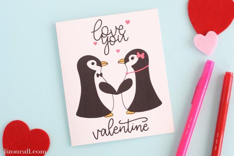 Free Printable Penguin Valentine's Day Card