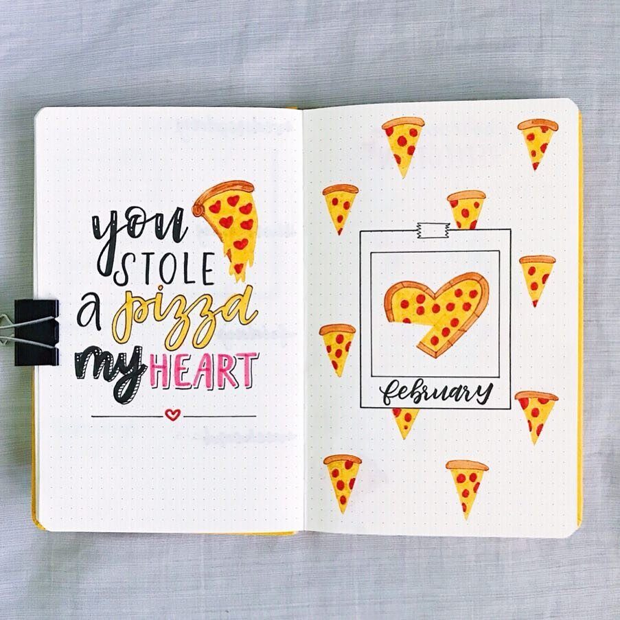 Pizza Valentines day February monthly cover bullet journal