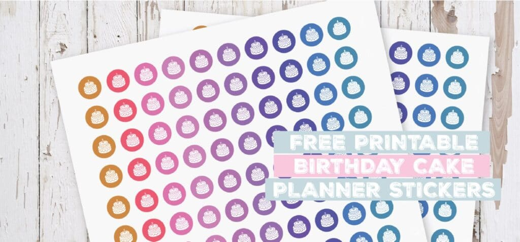 Printable Birthday Cake Planner Stickers