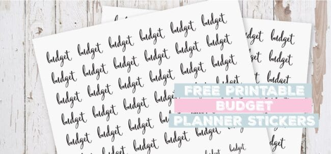 Printable Budget Planner Stickers