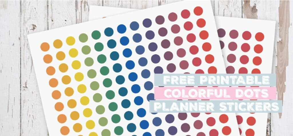 Printable Colorful Dots Planner Stickers