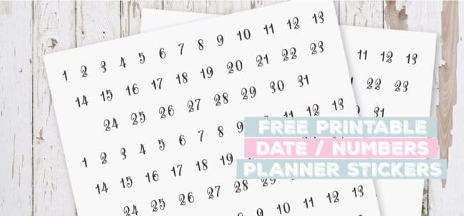 Printable Date Numbers Planner Stickers