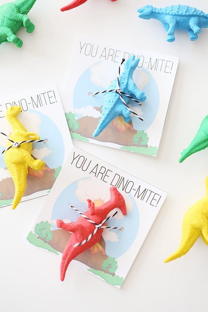 Valentine's Day Printable Dinosaur Cards for Kids