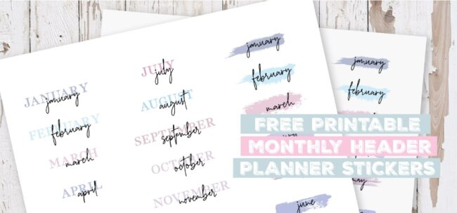 Printable Monthly Header Planner Stickers