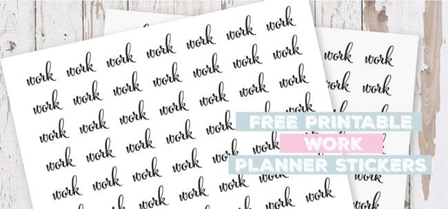 Printable Work Planner Stickers