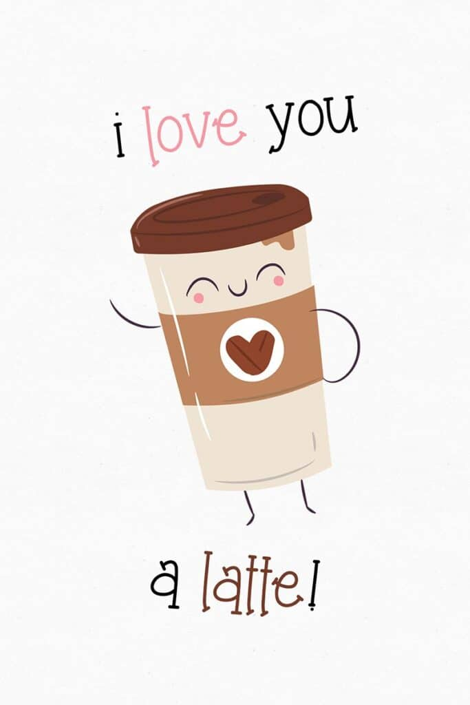 Free Printable Latte Valentines Day Card