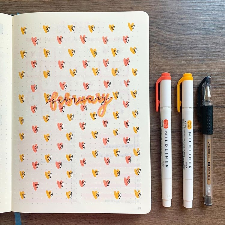 Valentines day february monthly cover bullet journal