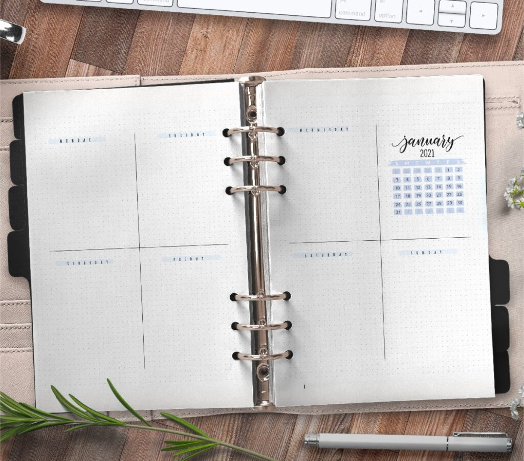 Weekly Bullet Journal And Planner Inserts On Two Pages Free Printable 3
