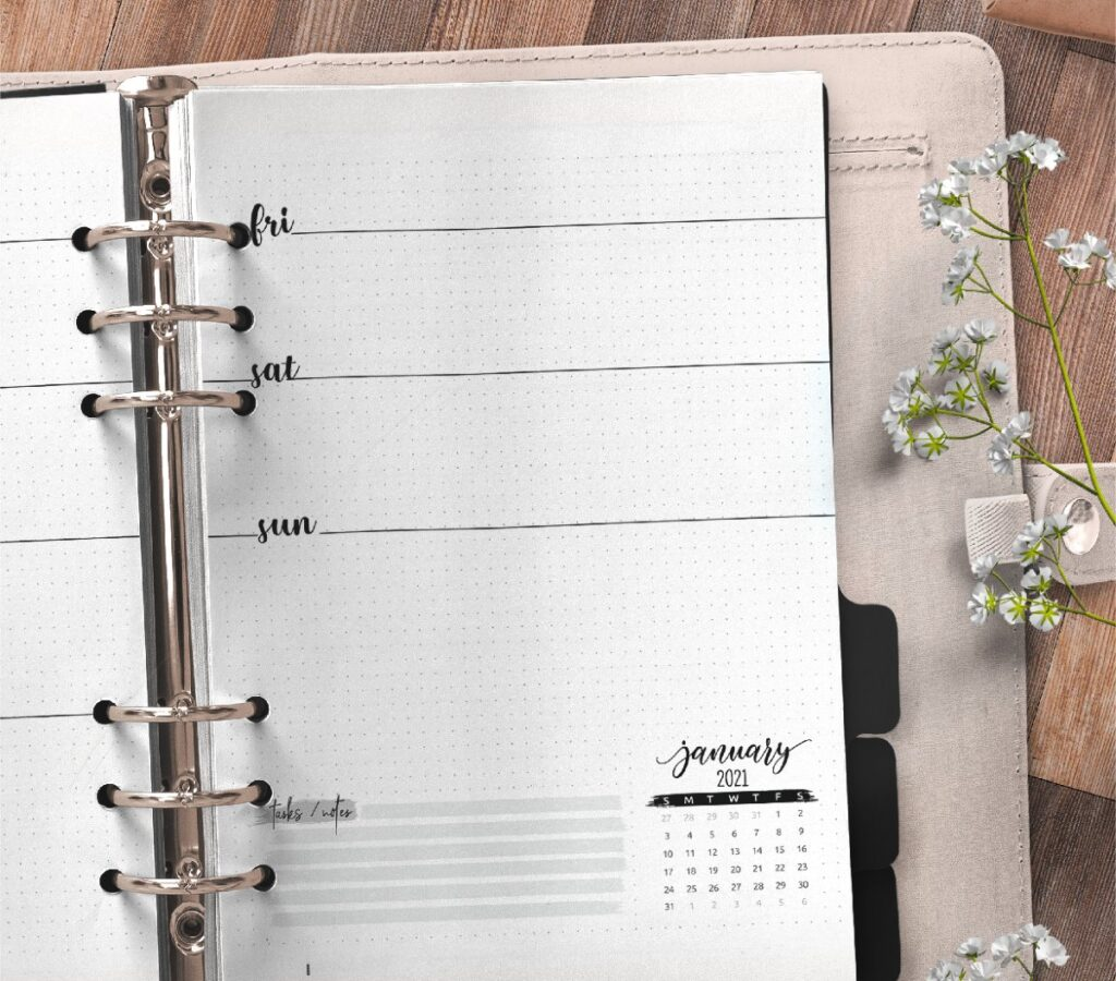 Weekly Planner And Bullet Journal Insert On Two Pages Free Printable 2