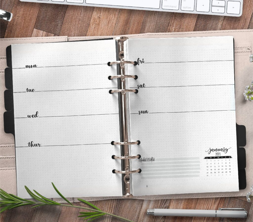 Weekly Planner And Bullet Journal Insert On Two Pages Free Printable 3