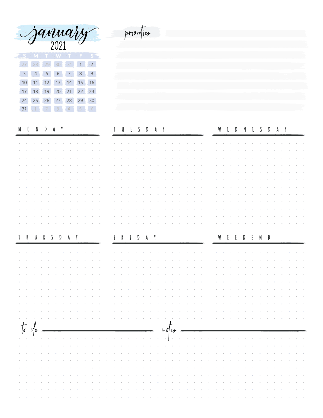 Weekly Planner And Bullet Journal Pages-01