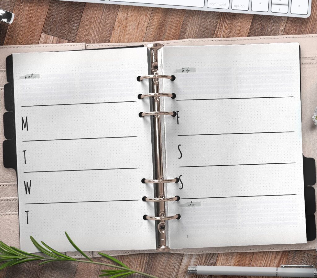 Weekly Planner For Bullet Journals Free Printable 3