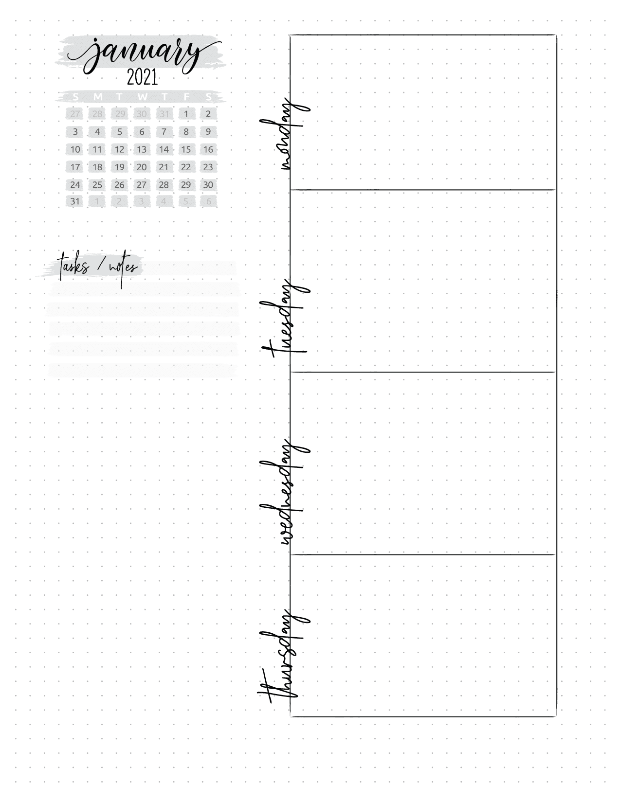 Weekly Planner In Bullet Journal Style-01