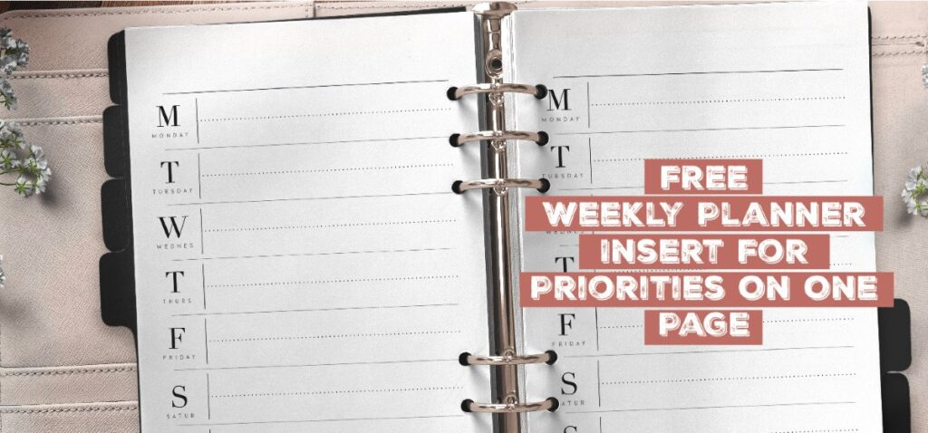 Weekly Planner Insert For Priorities On One Page
