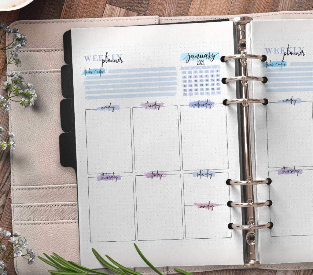 Weekly Planner Insert On One Page Free Printable 1