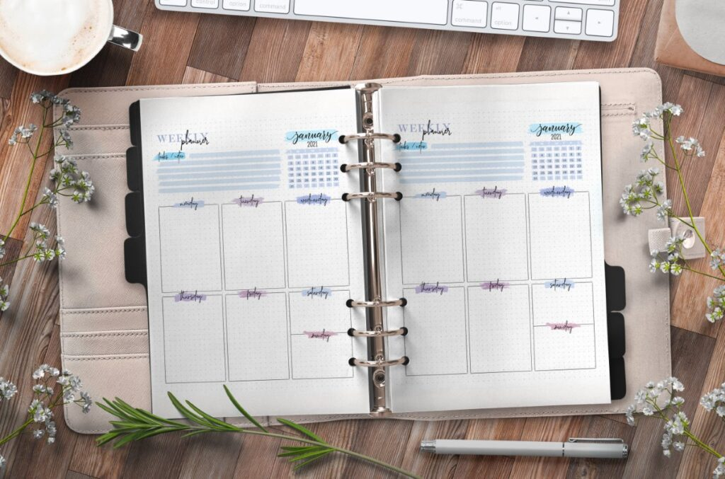 Weekly Planner Insert On One Page Free Printable