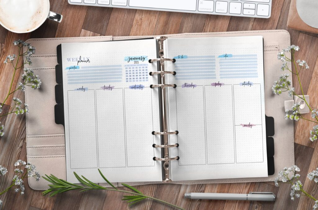 Weekly Planner Insert On Two Pages Free Printable