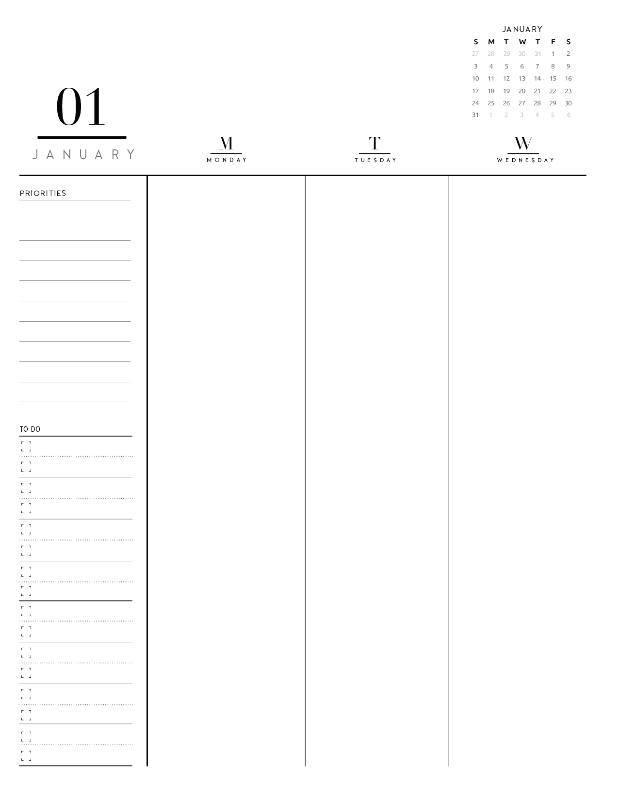 Weekly Planner Insert On Two Pages In Formal Style-01