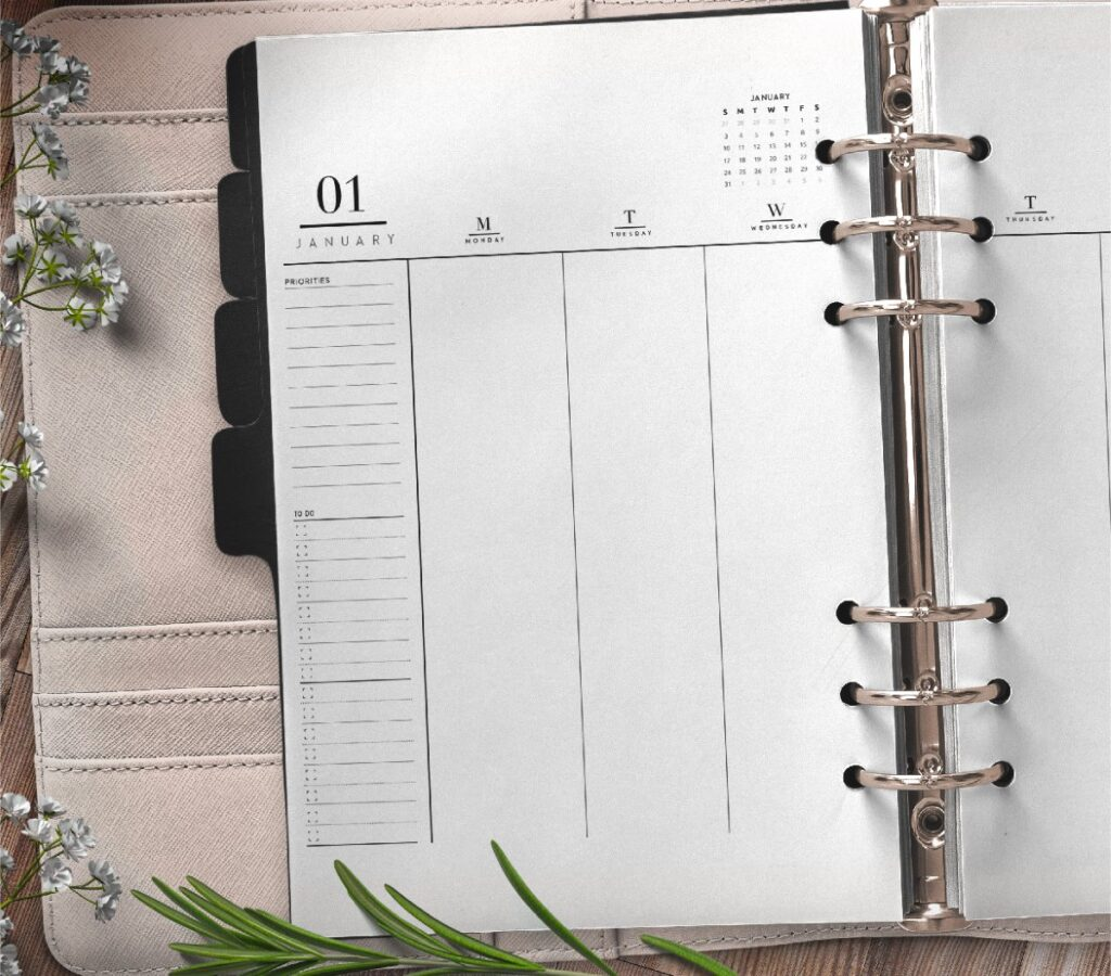 Weekly Planner Insert On Two Pages In Formal Style Free Printable 1