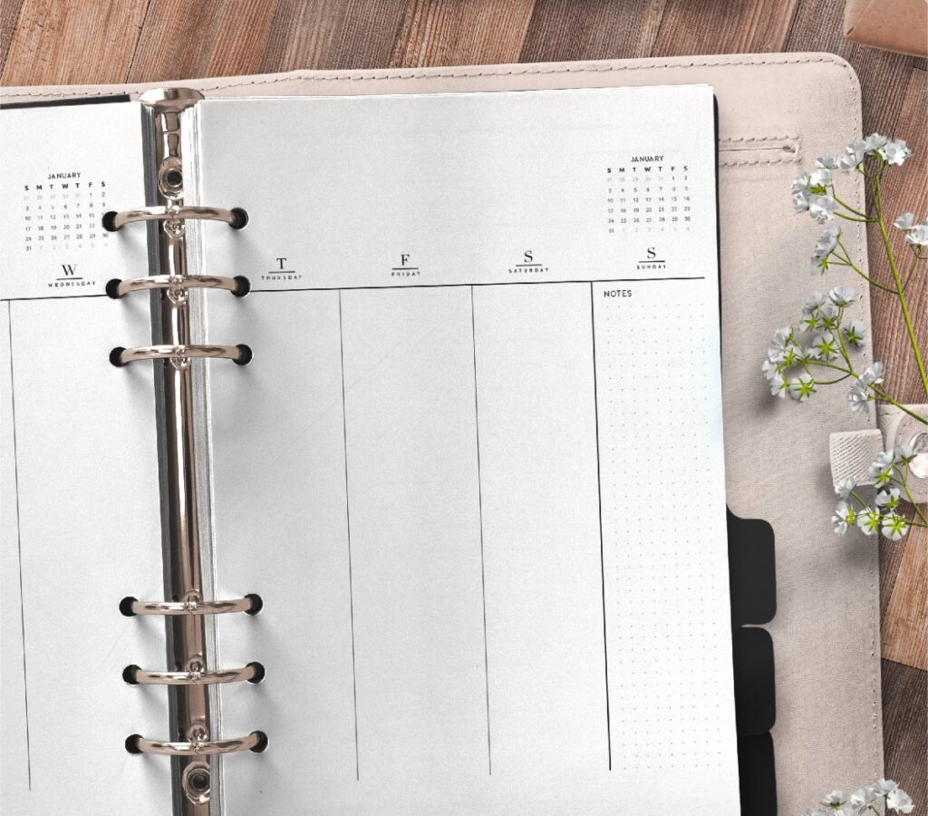 Weekly Planner Insert On Two Pages In Formal Style Free Printable 2