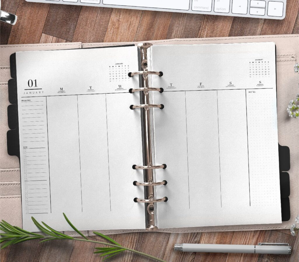 Weekly Planner Insert On Two Pages In Formal Style Free Printable 3