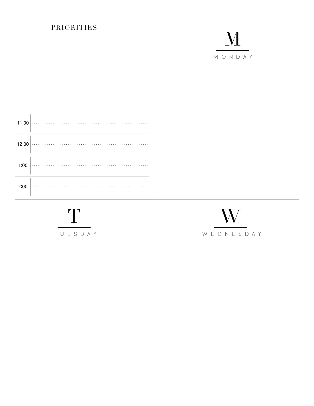 Weekly Planner Inserts On Two Pages In Formal Style-01
