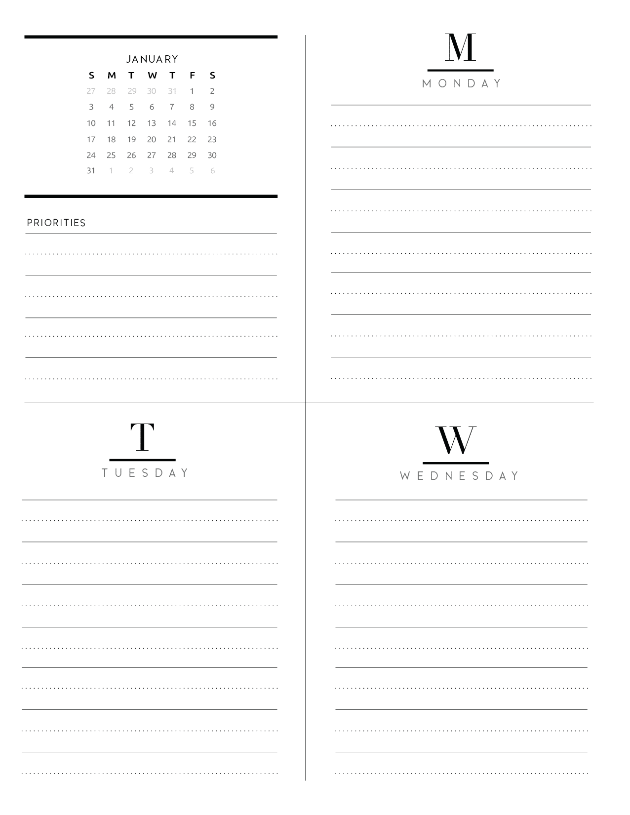 Weekly Planner Inserts On Two Pages In Formal Style-03