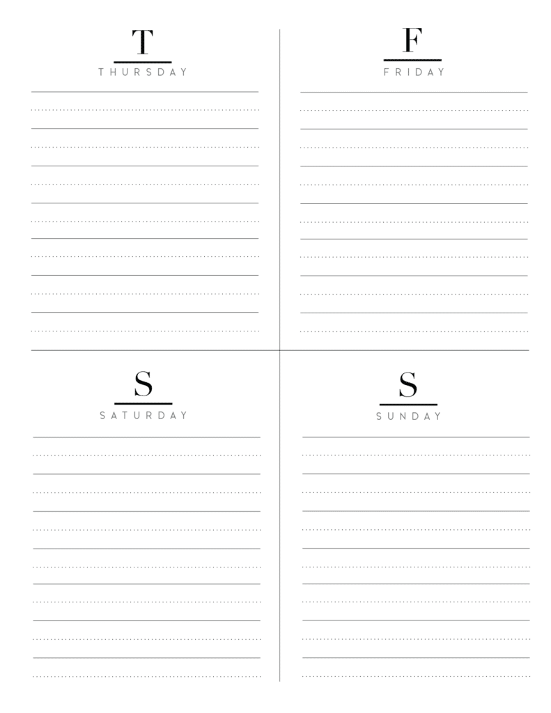 Weekly Planner Inserts On Two Pages In Formal Style-04