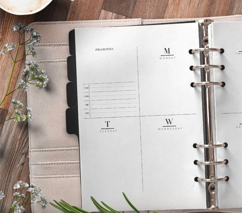 Weekly Planner Inserts On Two Pages In Formal Style Free Printable 1 page 1