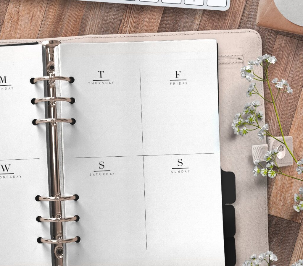 Weekly Planner Inserts On Two Pages In Formal Style Free Printable 1 page 2