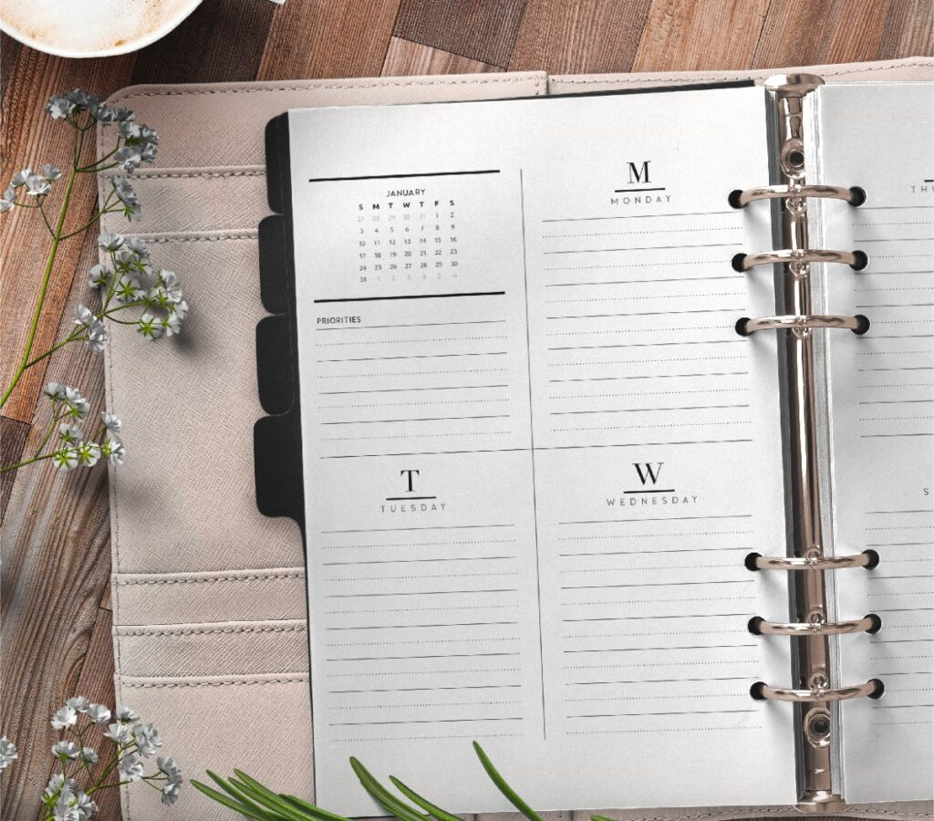 Weekly Planner Inserts On Two Pages In Formal Style Free Printable 2 page 1