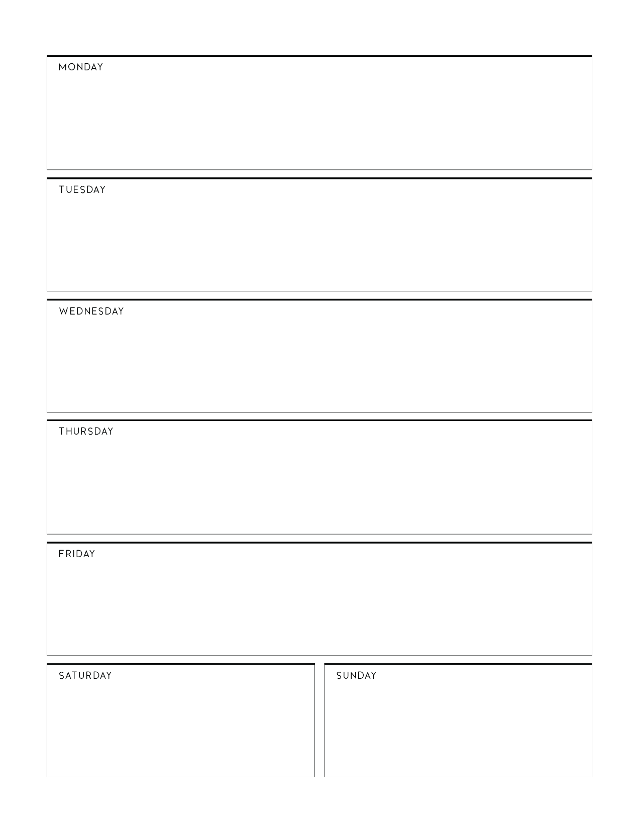 Weekly Planner Page Templates