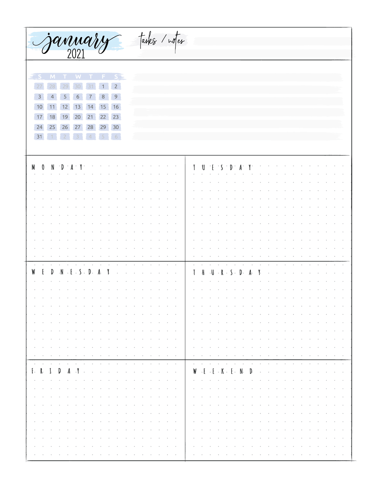 Weekly Planner Pages For Bullet Journals