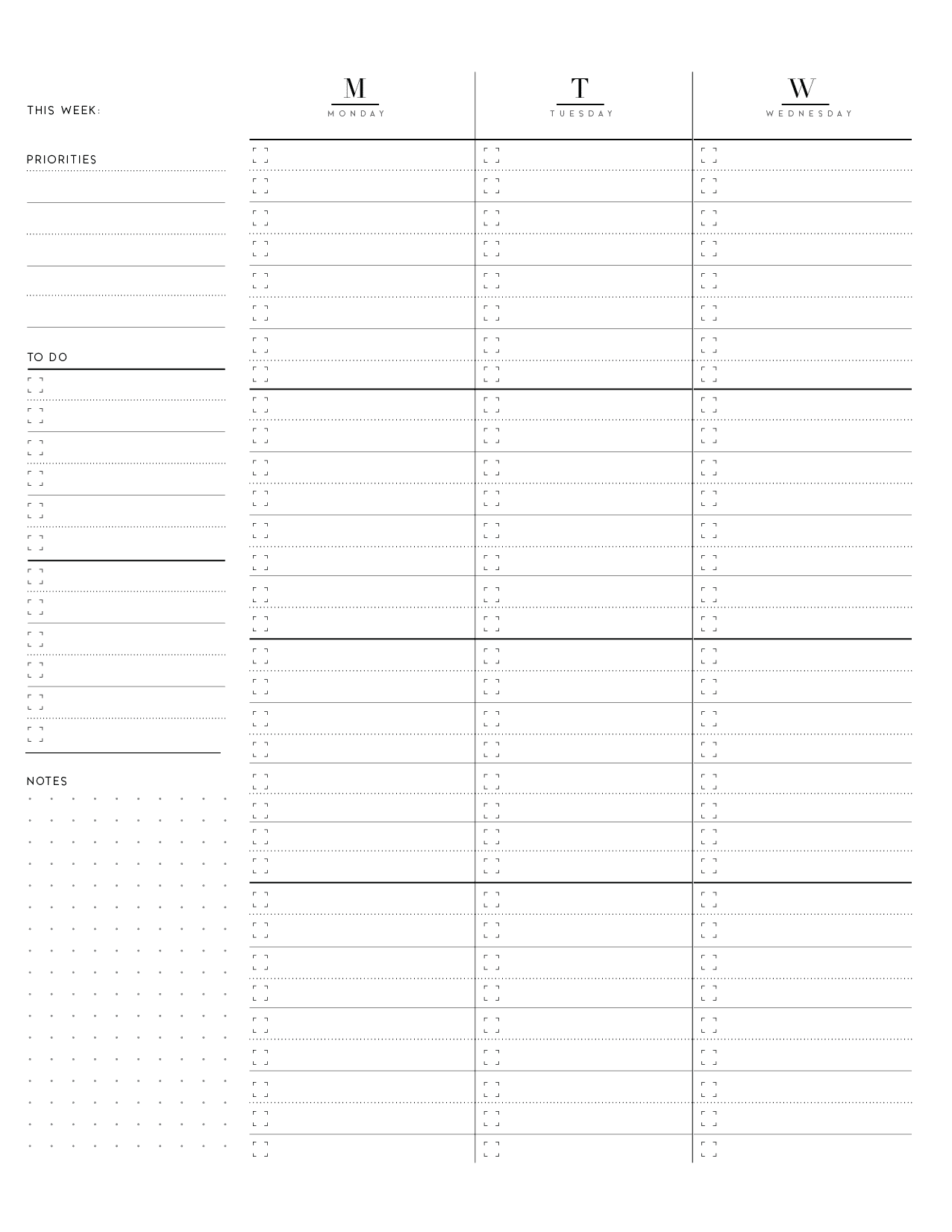 Weekly Planner Pages On Two Page Layout-01