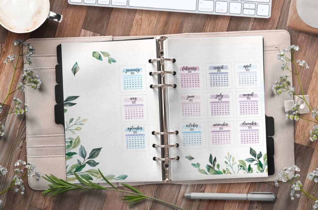 Yearly Planner Insert On Two Pages Free Printable