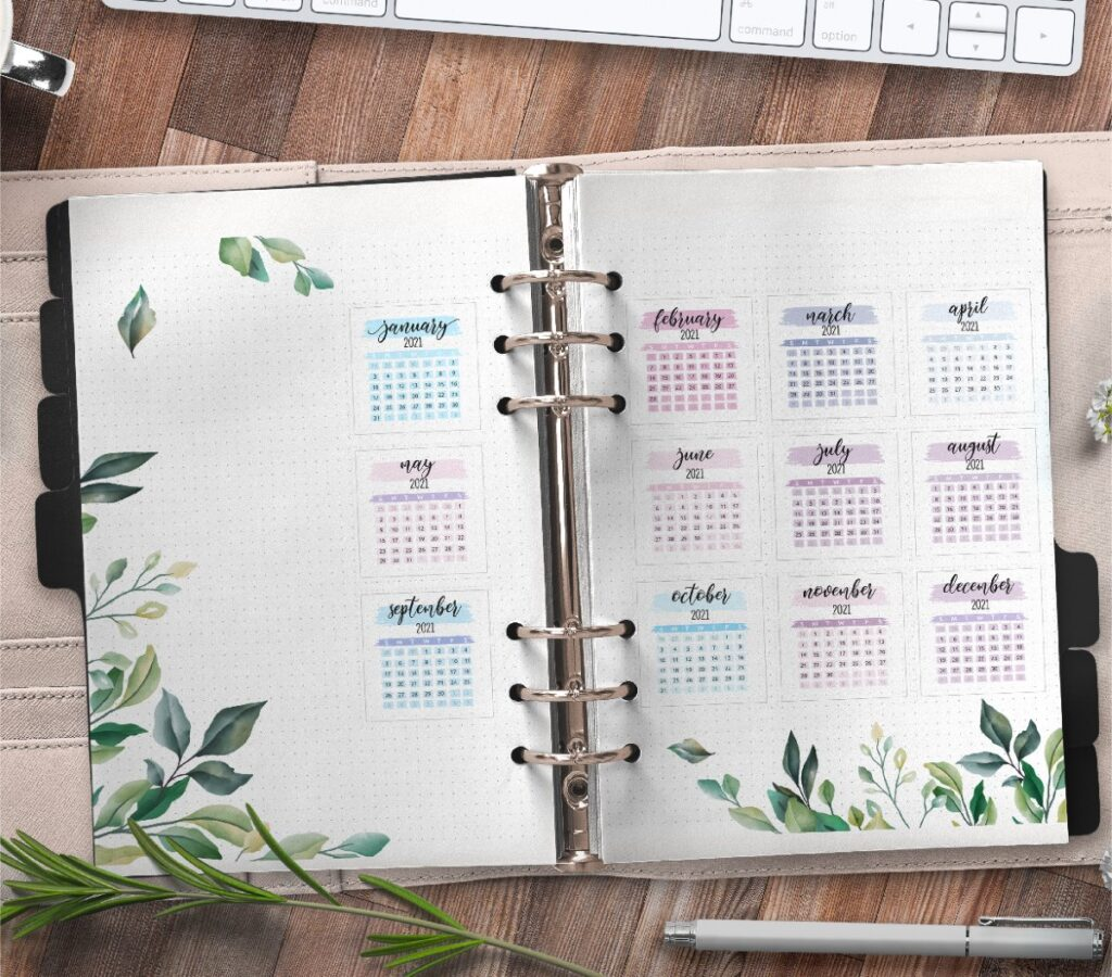 Yearly Planner Insert On Two Pages Free Printable 3