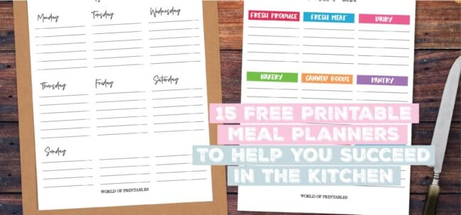 best free printable meal planner templates