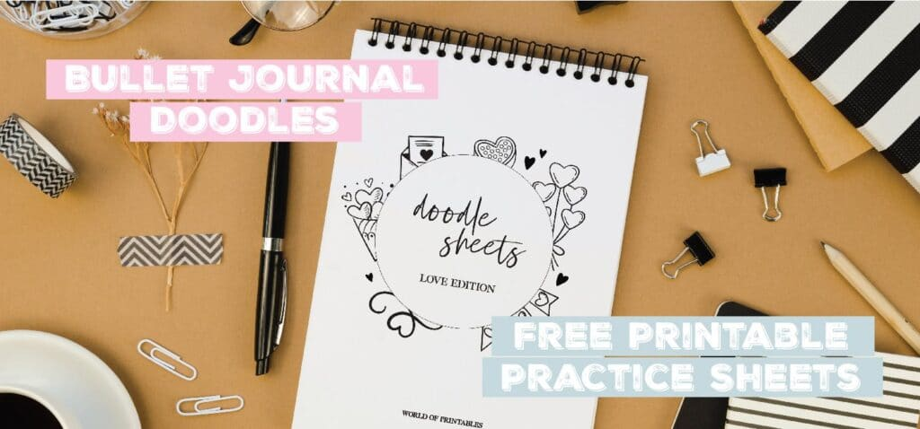bullet journal doodles free printable practice sheets