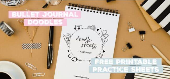 bullet journal doodles free printable practice sheets