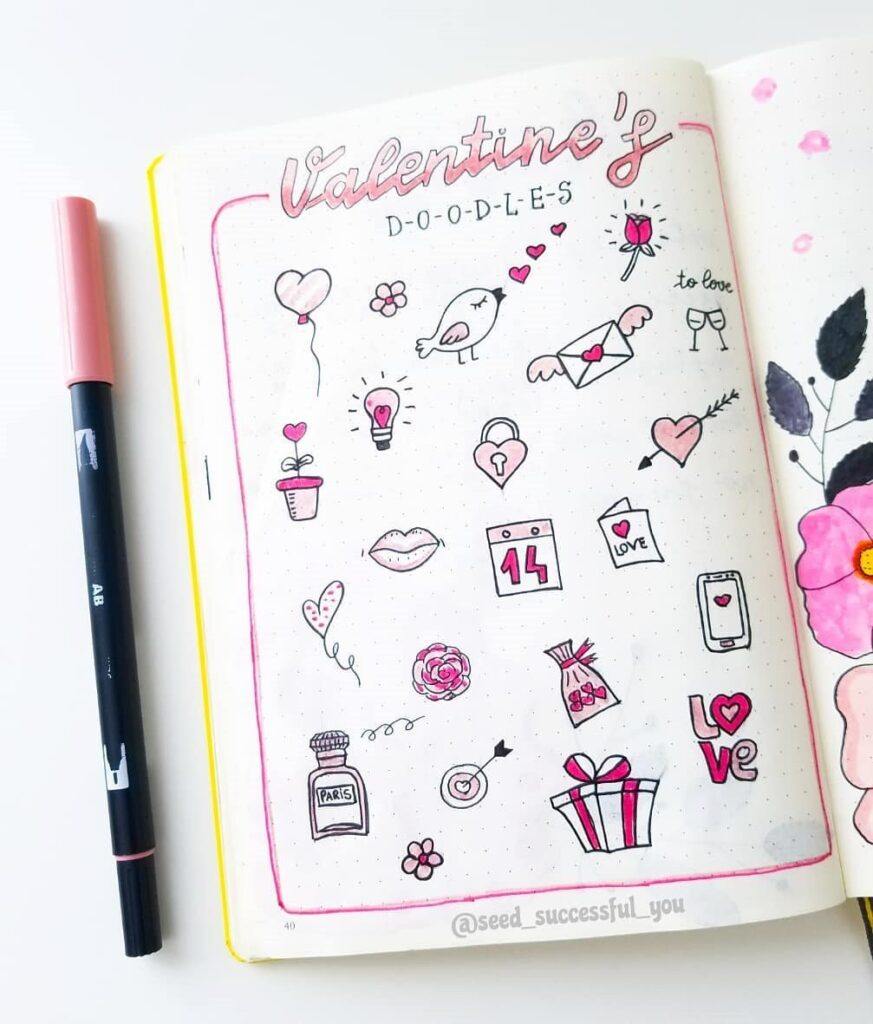 bullet journal valentine's day doodles - ideas for valentines bullet journal