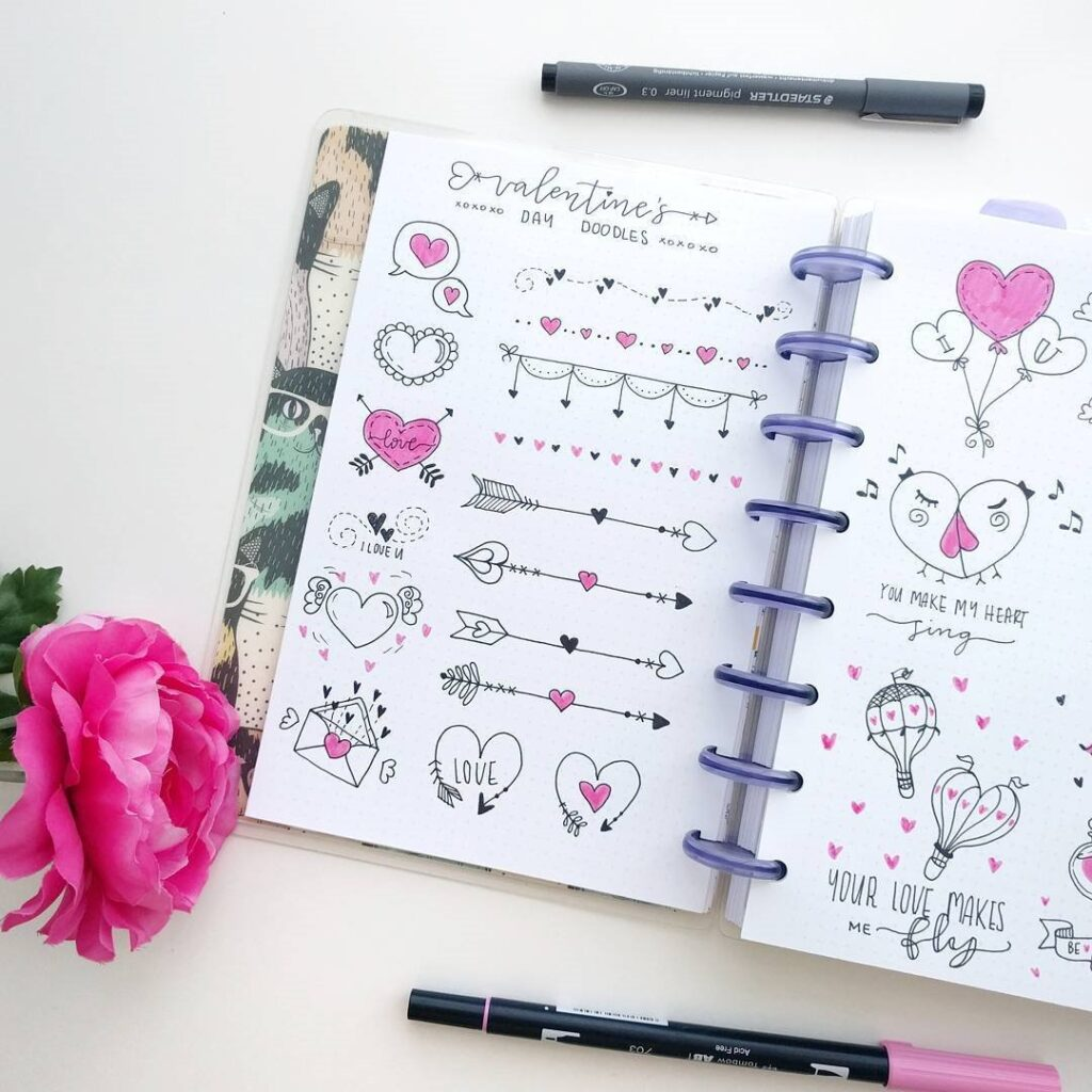 cute valentines day doodles for bullet journal