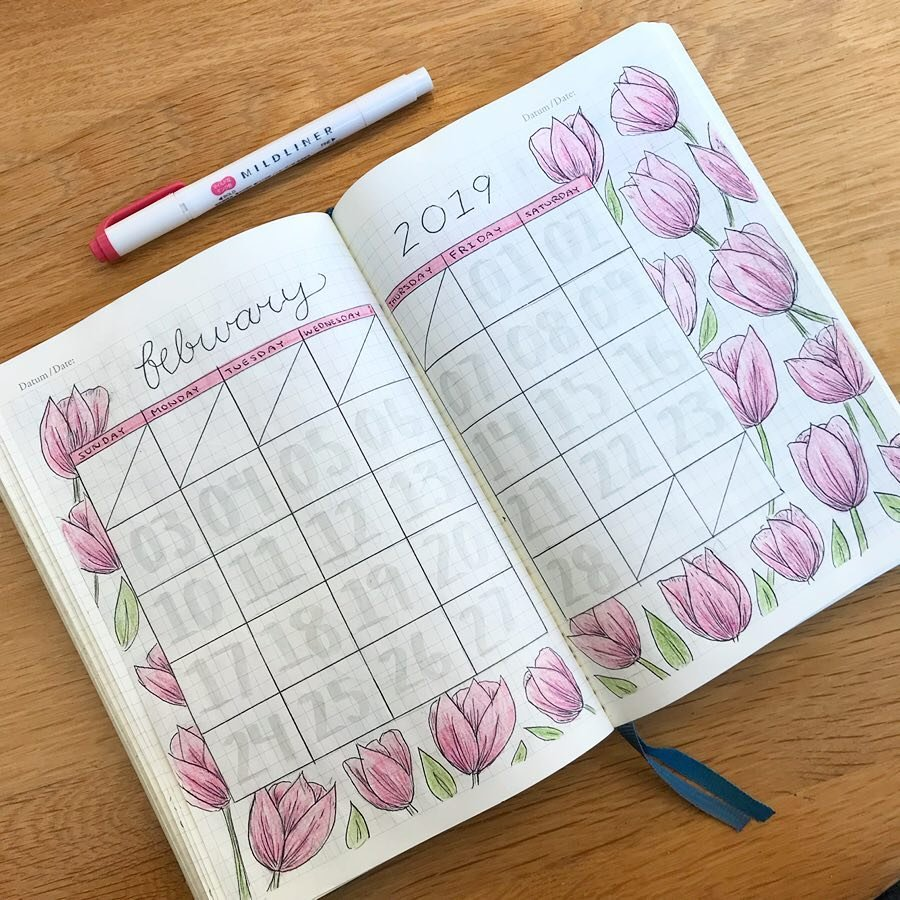 floral february valentines day bullet journal monthly spread