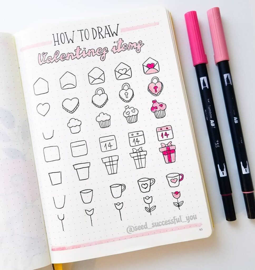 how to draw valentine's day bullet journal doodles
