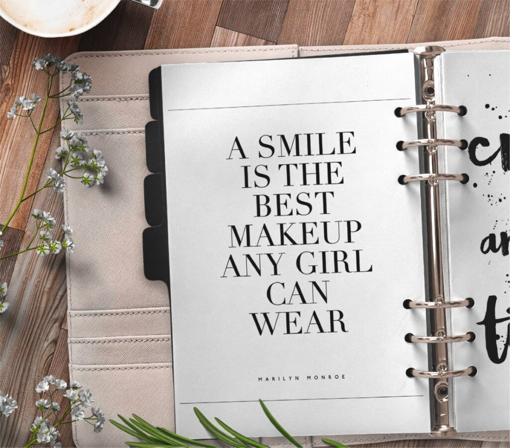 inspirational quote planner page - a smile is the best makeup a girl can wear