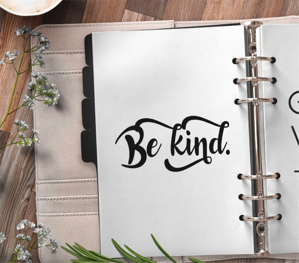 inspirational quote planner page - be kind
